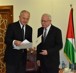 Dr. Malki receives a copy of the credentials of the new Russian ambassador accredited to the State of Palestine