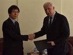Minister Malki receives a copy of the nomination papers of the Japanese Representative accredited to Palestine