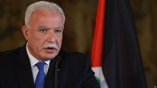 "Minister Riad Malki  ""The State of Palestine condemns the strongest terms the US administration's lawless position on Israel's illegal settlements in occupied territory of the State of Palestine,"